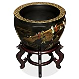 China Furniture Online Porcelain Fishbowl, 12 Inches Hand Painted Chinoiserie Courtyard Scenery Planter Black Glaze