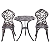 Giantex 3 Piece Bistro Set Cast Leaf Design Antique Outdoor Patio Furniture Weather Resistant Garden Round Table and Chairs (Leaf Design) For Sale