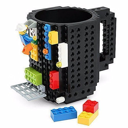 Creative DIY Build-on Brick Mug, Lego Style Coffee Mugs, Gift Toy Mugs for Kids & Adults, By Kyonne TM (Black)