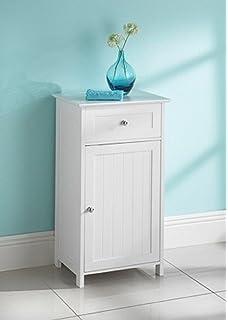 Classic Floor Standing Bathroom Storage Cabinet White Amazon