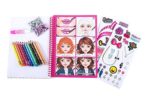 - Hot Focus Makeover Kit - Fashion Passion Makeup and Hair Sketchbook with 12 Erasable Colored Pencils, 2 Bags of Sequins, Accessory Stickers, Glue and Adjustable Heart Jewel Ring