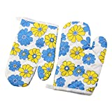 uxcell® Floral Print Cotton Blends Home Restaurant Heat Resistant Hand Protector Oven Mitt Pair