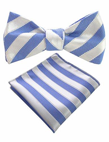 (JEMYGINS Mens Bowtie Striped Self Bow Tie & Pocket Square Set (18))
