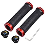 TOPCABIN Double Lock on Locking Bicycle Handlebar Grips Cycle Bicycle Mountain Bike BMX Floding (Red (a pair))