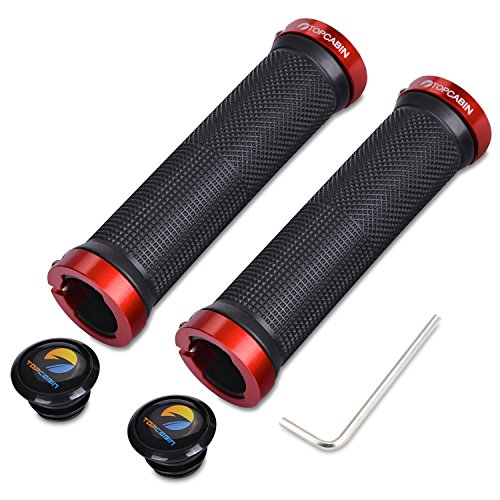TOPCABIN Bicycle Grips,Double Lock on Locking Bicycle Handlebar Grips Rubber Comfortable Bike Grips for Bicycle Mountain BMX (Red) -