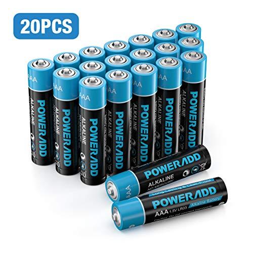 🥇 Poweradd Pilas Alcalinas AAA Baterías LR03 de 10 Años Larga Duración para Linternas