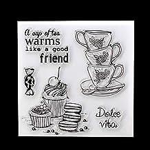 LBgrandspec Tea Cup Dessert Silicone Transparent Stamper DIY Scrapbook Cards Decor DIY Custom PVC Environmental Seal Stamp Tool