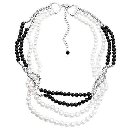 (Honora 4-Strand Freshwater Cultured Pearl & Onyx Bead Necklace in Sterling Silver)