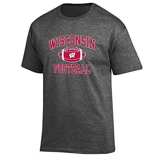 (Elite Fan Shop NCAA Men's Wisconsin Badgers Football T-shirt Dark Heather Wisconsin Badgers Dark Heather X Large)