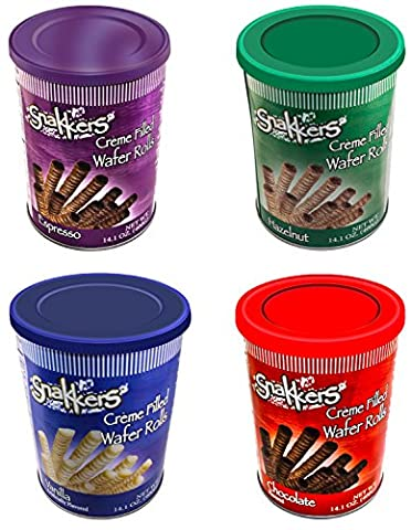 Snakkers European Cookies Wafer Roll Snacks Cream Filled Care Package Variety Pack Vanilla Hazelnut Espresso Chocolate 14.01 Oz Cans (4 (Italian Air Freshener)