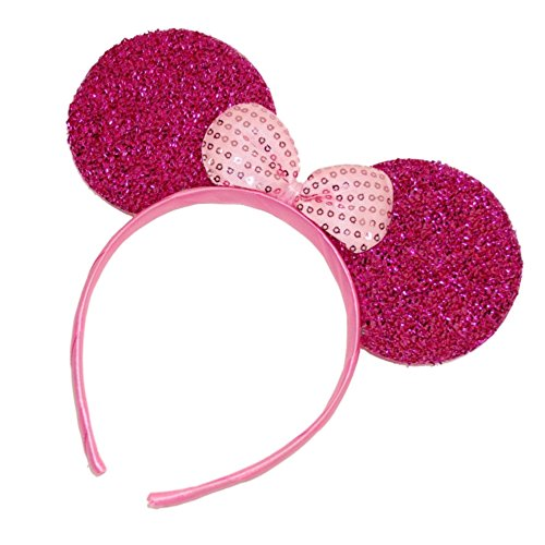 Pritties Accessories Hot Pink Sparkly Glitter Mouse Ears Alice Hair Band Headband Fancy Dress Party Hen -