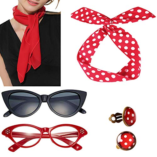 50s Accessories Women Red Hair Glasses Rockabilly 1950s Vintage Sandy Grease