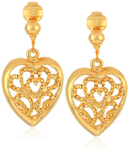Drop Earrings Heart Jewelry (1928 Jewelry Women's Gold-Tone Filigree Heart Drop Clip Earrings, Gold, One Size)