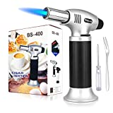 Culinary Butane Torch, Sondiko Professional Cooking Torch Lighter Butane Refillable, Adjustable Flame, Safety Lock for Baking, BBQ, Creme Brulee, Heat Shrinking Tubing and Soldering