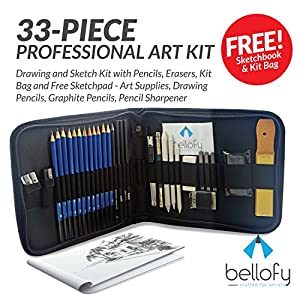 33-piece Professional Art Kit - Drawing and Sketch Kit with Pencils, Erasers, Kit Bag and Free Sketchpad - Art Supplies, Drawing Pencils, Graphite Pencils, Pencil Sharpener