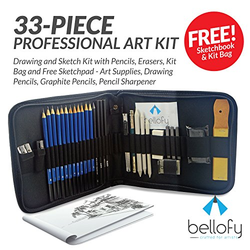 Art Drawing Supplies (33-piece Professional Art Kit - Drawing and Sketch Kit with Pencils, Erasers, Kit Bag and Free Sketchpad - Art Supplies, Drawing Pencils, Graphite Pencils, Pencil Sharpener )
