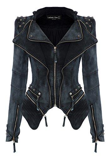 [Lookbookstore Sharp Studded Lapel Denim Jeans Coat Blazer Jacket Grey US 0 - US 2] (Gray Blazer Jacket)