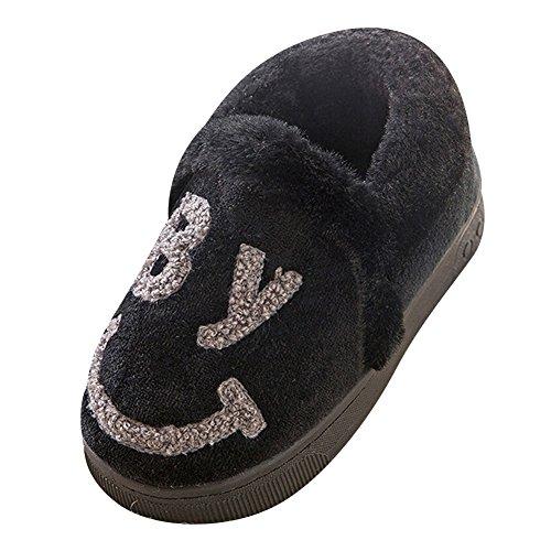 Intérieur Chaud Chaussons Parent Antidérapant Pantoufles Slipers enfant Noir Smiley Chaussures Bg qPB1tawn