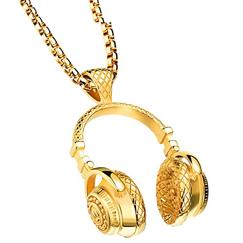 PAMTIER Men's Stainless Steel Music Headphones Large Pendant Necklace Gold