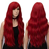 #7: netgo Red Wig Cosplay for Women Long Wavy Heat Resistant Fiber Wigs Side Bangs Party