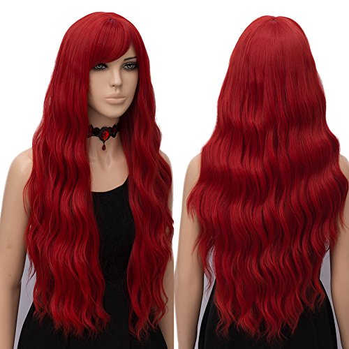 (netgo Red Wig Cosplay for Women Long Wavy Heat Resistant Fiber Wigs Side Bangs)