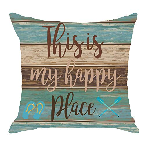 (Vintage Wood Texture This is My Happy Place Paddle Flip Flops Body Burlap Throw Pillow Cover Couch Sofa Living Room Decorative Square 18x18 inches )