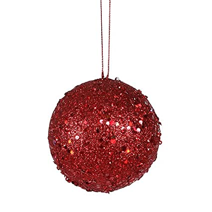 Red Christmas Ball Ornaments.Vickerman Fancy Red Hot Holographic Glitter Drenched Christmas Ball Ornament 3