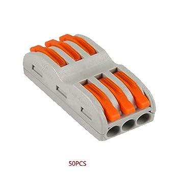 Kongnijiwa Inicio 50PCS de la lámpara Universal Compacto Alambre cableado Conector de 6 Pines del Conductor