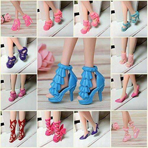 Easyflower Añadir Mucha diversión Zapatos de tacón Alto Barbie Doll, 40 Pares de Zapatos de tacón Alto Diferentes...