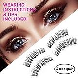 Magnetic Eyelashes 3 Magnets (Thin, Hidden)   Best 3D Full Eye Korean Silk Natural Look False Lashes Extension, No Glue Reusable Fake Eyelash, Premium Quality   Be A Beauty Everyday, No Mess (1 pair)