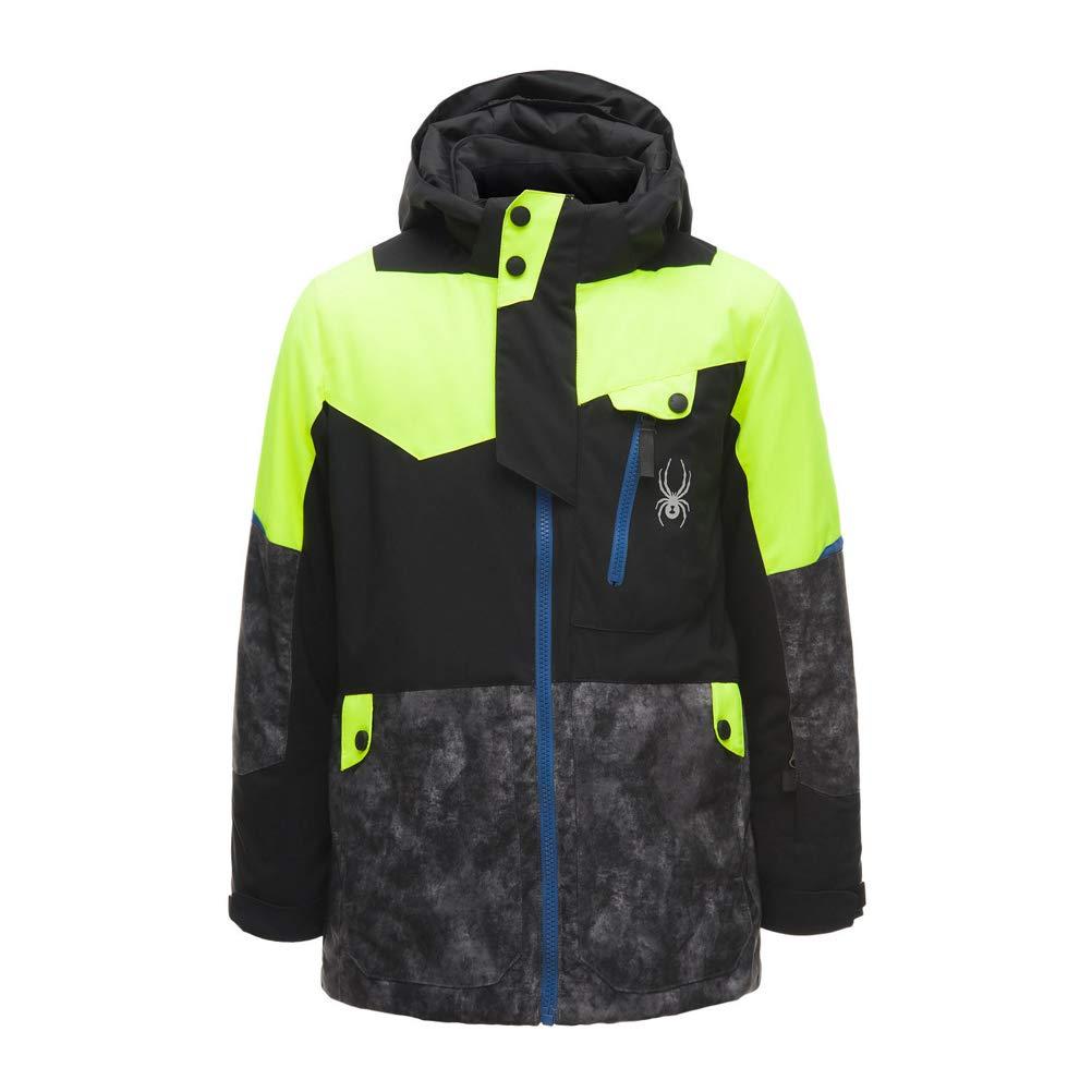 Spyder Kids Boy's Tordrillo Jacket (Big Kids) Black/Cloudy Tonal Distress Polar/Bryte Yellow 18