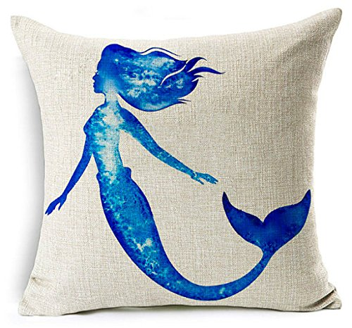 Blue mermaid silhouette nautical hamptons watercolor painting style square linen pillow cushion ()