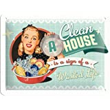 Plaque en metal 15x20 -A Clean House is a Sign of a Wasted Life