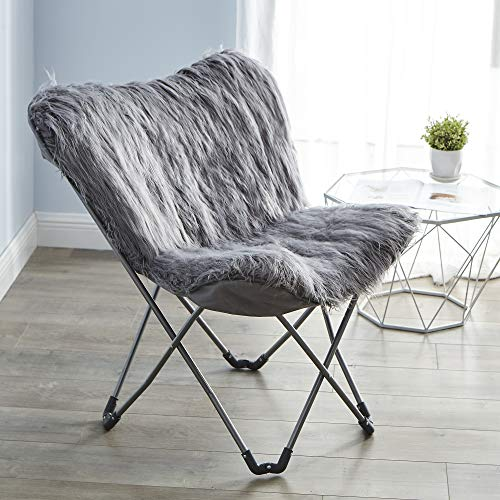 Fur Butterfly Chair - Dark Gray