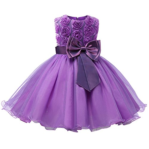 Niyage Girls Party Dress Princess Flowers Glitter Wedding Dresses Toddler Baby Pageant Tulle Tutus 18-24 M Purple