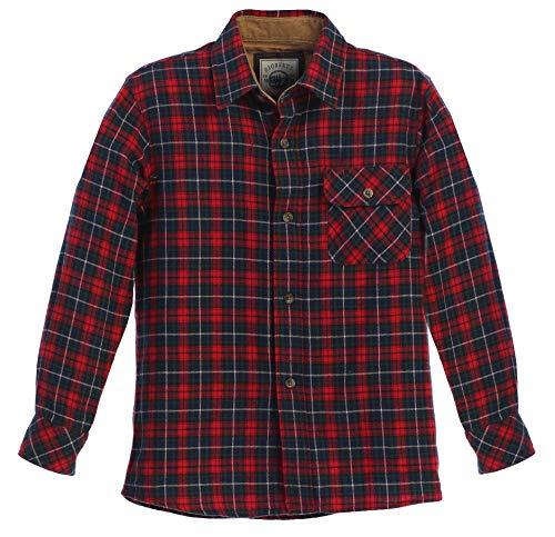 Gioberti Boy's Flannel Shirt, Red/Navy / Green, Size 8
