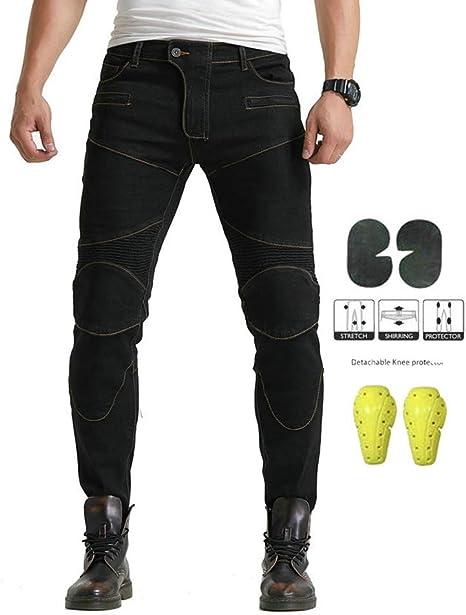 GELing Pantaloni Moto Uomo Jeans Kevlar Aramid Con larmatura,Blu,XL