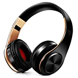 Headphones Over Ear,Nakeey Noise Cancelling Stereo Wireless Headset,Bluetooth 4.1 Wireless Headphone Headset with Microphone for PC/ Cell Phones/TV-(Black-Gold)