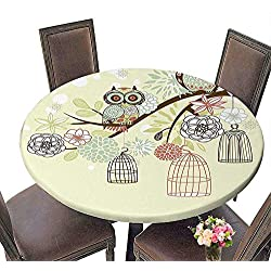 """Polyester Tablecloth (Elastic Edge) Suitable for All Occasions, (29.5"""" Round) Owls Home Decor Owl Winter Floral Background Blossoms Owls Out of Their Cages Bird Cage Freedom Image Olive Blue Pink."""