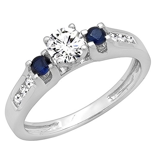 Dazzlingrock Collection 14K Round White & Blue Sapphire & Diamond Bridal Engagement Ring, White Gold, Size 7