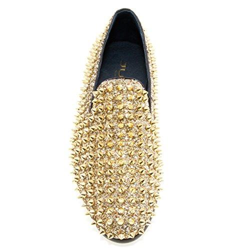 Jump Newyork Heren Luxor Ronde Neus Textiel En Leer Metalen Spike Slip-on Rokende Slipper Jurk Loafer Goud