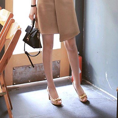 Sandales Femmes Sur Hauts À Taoffen Talon Peep Talons Avec Haut Toes Abricot Arc Classiques Glisser S5FfAw8q