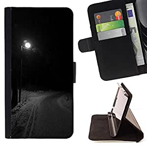 WINTER ROAD DARK NIGHT STREETLIGHT/ Personalizada del estilo del dise???¡Ào de la PU Caso de encargo del cuero del tir????n del soporte d - Cao - For Apple Iphone 5C