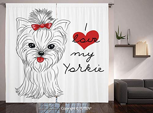 Thermal Insulated Blackout Window Curtain [ Yorkie,I Love My Yorkie Cute Terrier with its Tounge Out Adorable Yorkshire Terrier,Black White Red ] for Living Room Bedroom Dorm Room Classroom Kitchen Ca