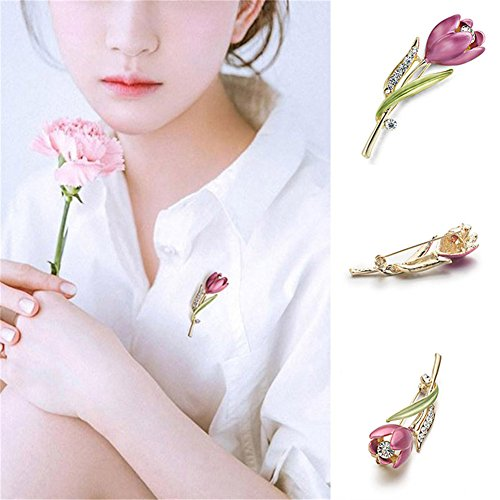 deba068b3e7 RoseSummer Elegant Tulip Flower Pin Rhinestone Brooch Jewelry Accessories  Clothing Brooches for Crystal Wedding Costume