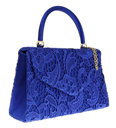 Going Wedding Out London Party Handle Lace Womens Ladies Elegant Bag Top Designer Satin Royal Clutch Evening Craze Blue Handbag Vintage Fashion 1YqIXw