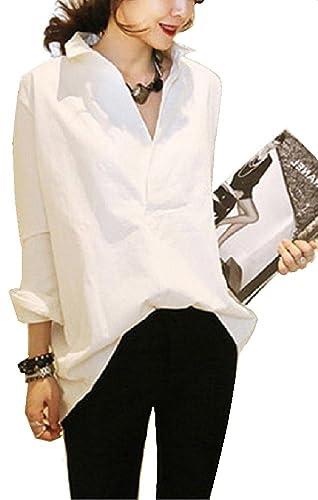 LiliumoonVネック後ろボタンデザインゆったりロングシャツブラウストップス長袖無地きれいめレディースファッション/SMLXLXXLサイズ(Sサイズ・ホワイト)