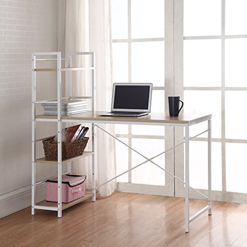 Modern Small Work / Computer Desk with Attached Shelving (Brown / White)