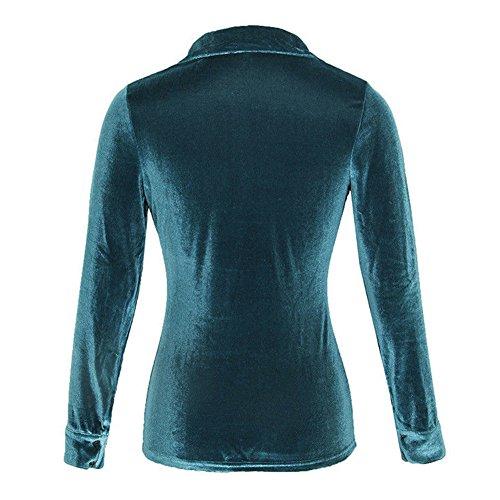 Arrtezvous Velours Chemisier Cardigan Hiver Collier Chemises Femmes Bleu Blouses Dcontracte Chemise et Tunique L'automne Manches Chemises Longue Kootk Travail Refuser Tops Dames aZY0xwx4