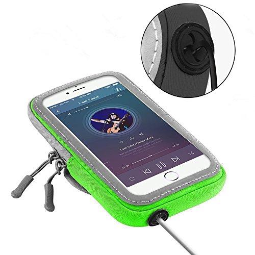 Lumker® Brazalete Deportivo para iPhone X / 6 Plus/7 Plus/8 Plus, Samsung Galaxy S5 /S6/ S8/ S7 Edge otros Teléfonos Inteligentes de 5.1-6.0 Pulgadas Caja del Brazalete Antideslizante Contra Sudor, Ba B-verdeq(5.1-6.0 Pulg)